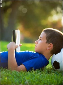 boy reading pictures