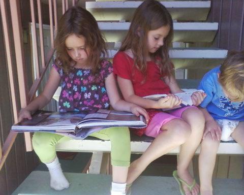 children studying crystals