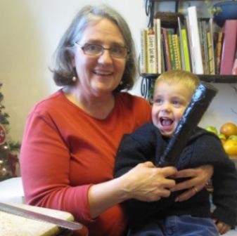 granny child with rainstick picture