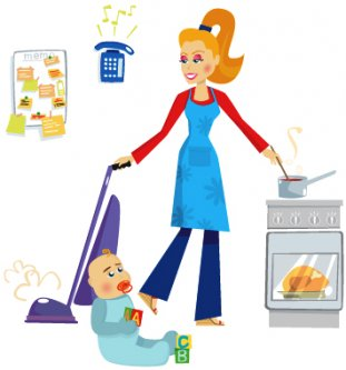 busy mom clip art