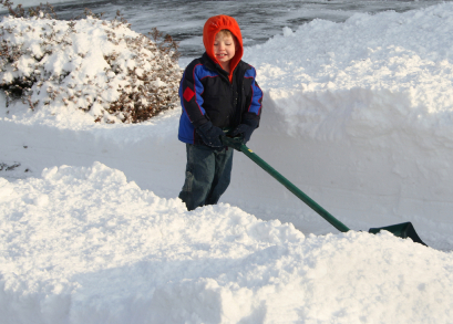 child shovelling snow pictures