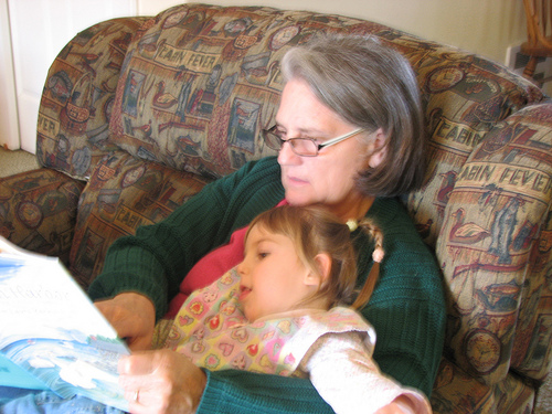 Grandma reading to child pictures
