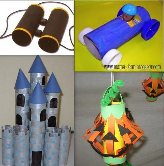 toilet paper roll, binoculars, car, castle, lantern