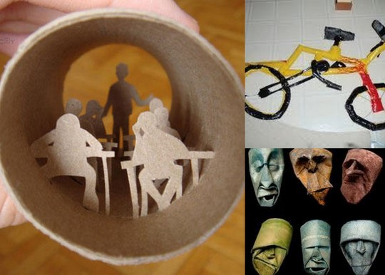 toilet paper roll diorama, bicycle, face