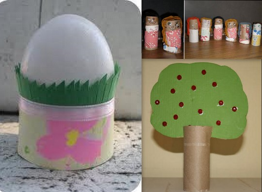 toilet paper roll egg holder,dolls,apple tree
