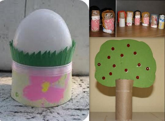 toilet paper roll egg holder,dolls,apple tree