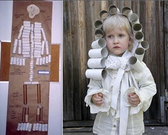 toilet paper roll skeleton, wig