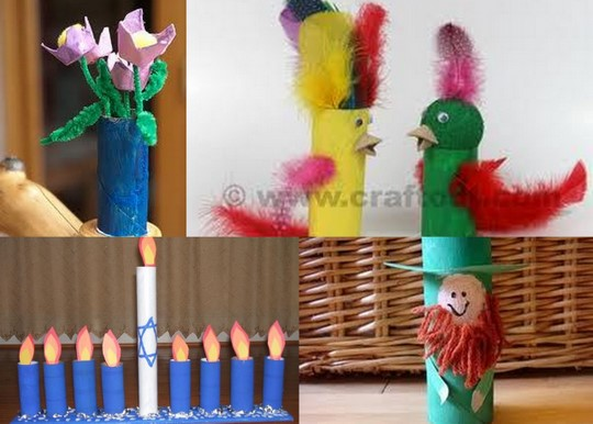 toilet paper roll vase, birds, menorah, leprechaun