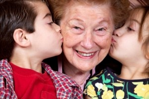 grandkids kissing grandma pictures