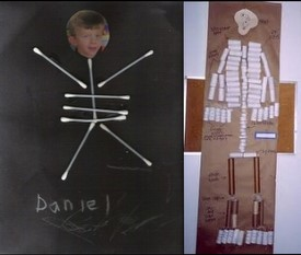 skeleton with Q tips toilet paper tubes picture