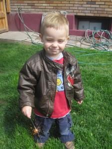 boy with sparkler photo