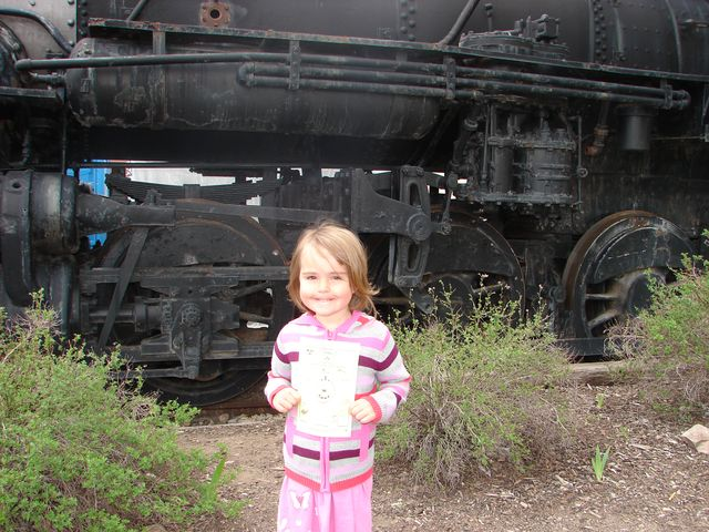 kid with steam engine pictures