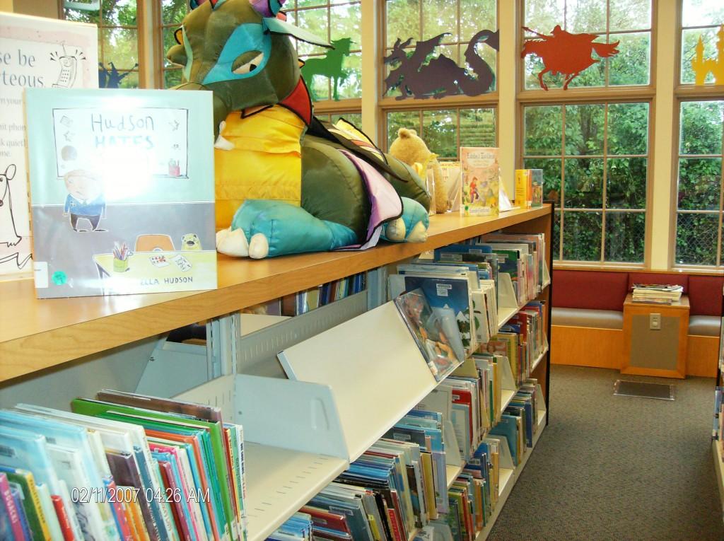 dragon books shelf in library