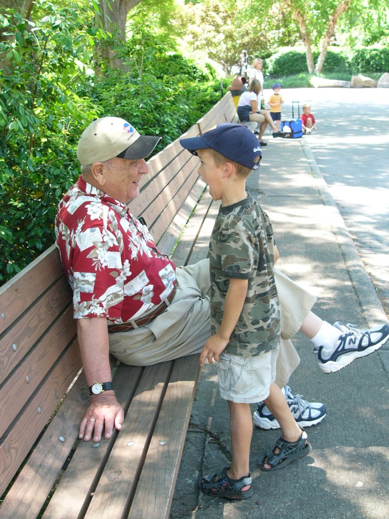 grandfather kid talking pictures