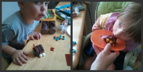 kids eating edible cookie dogs picture