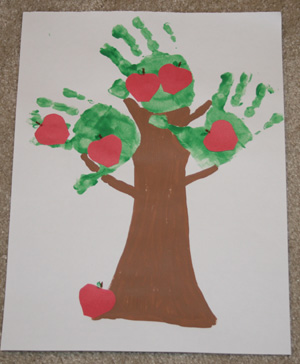 apple tree hand print crafts picture