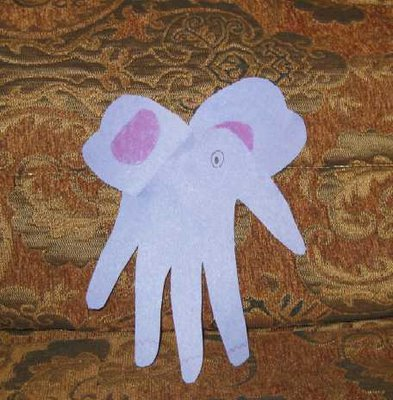 elephant handprint craft picture
