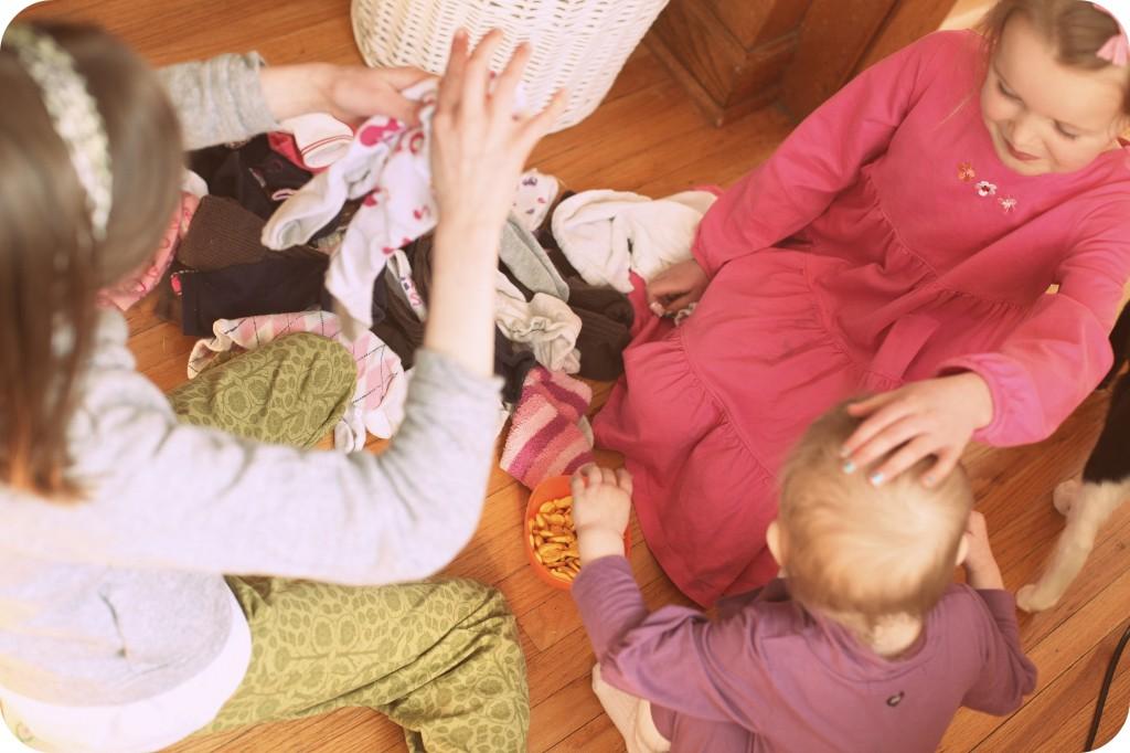 kids sorting socks photo