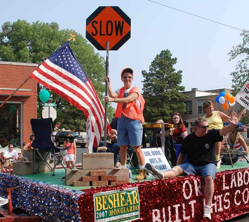 workers in labor day parade