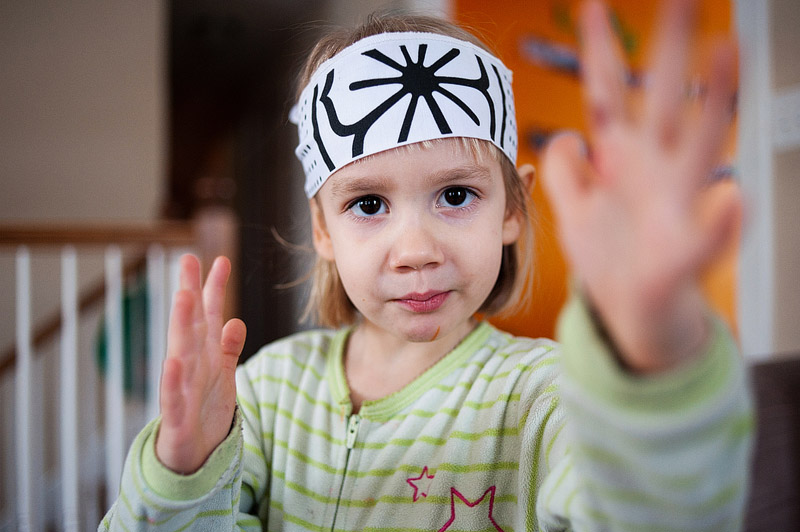 little girl playing karate kid picture