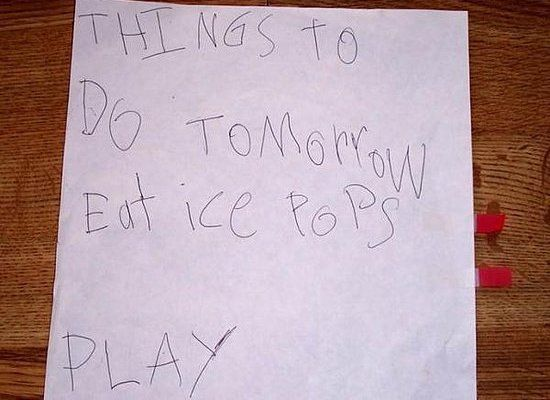 picture of a to-do list made by a kid