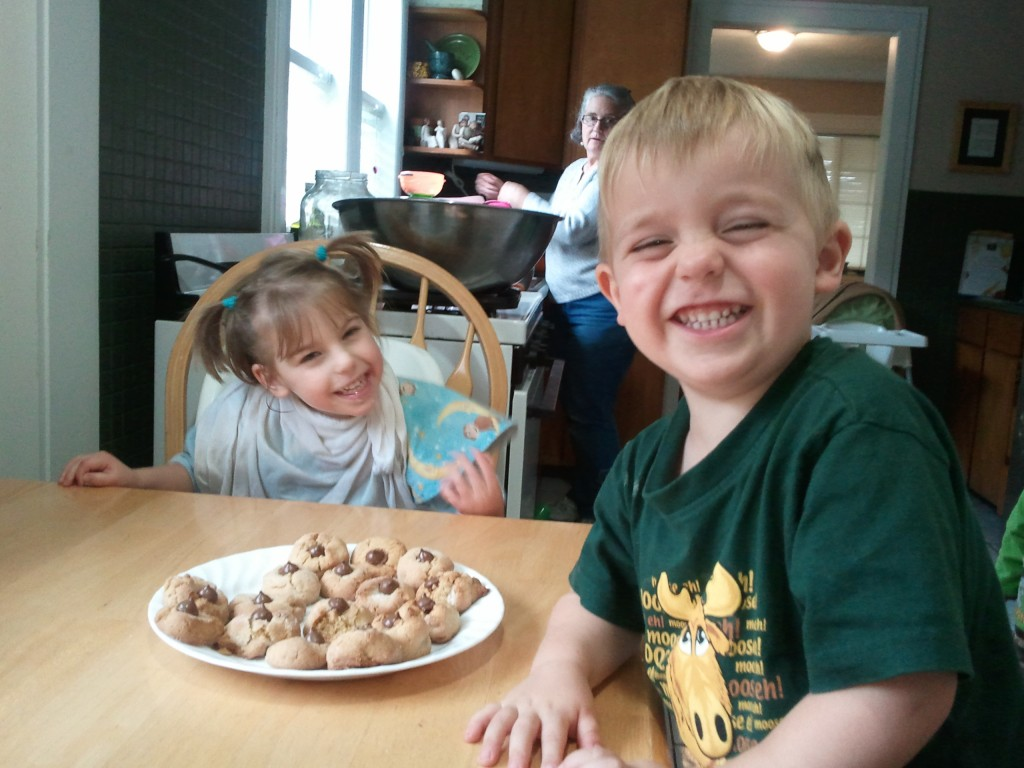 kids happy with their baked cookies