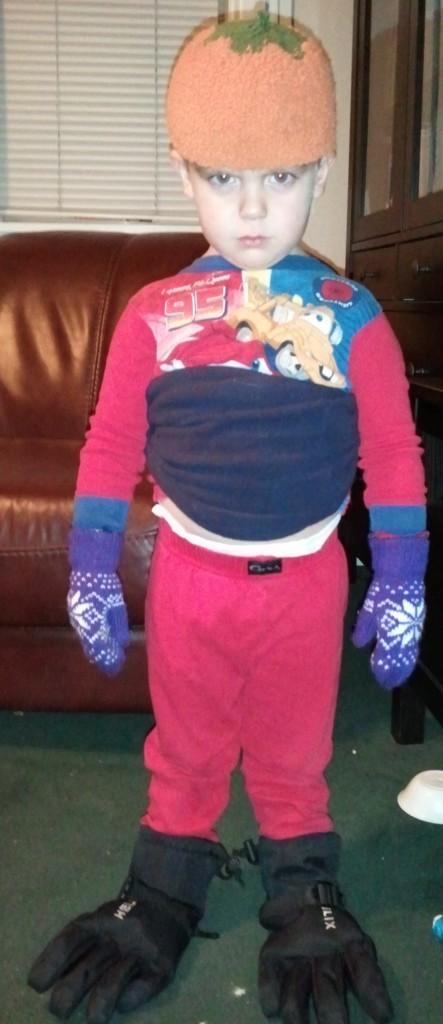 little boy in self made hallloween costume