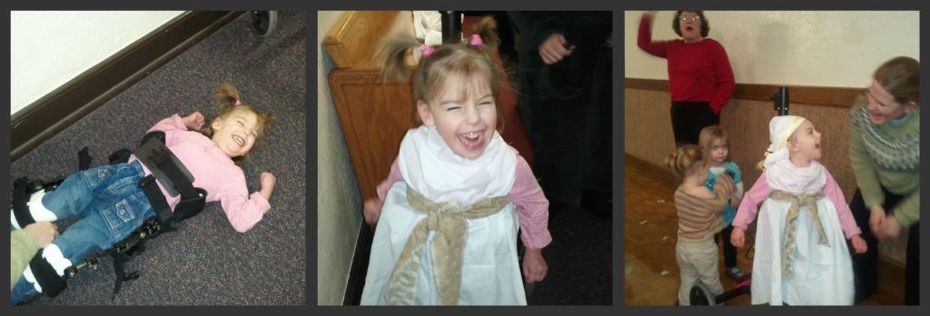 little girl dressing up as shepherd for christmas play