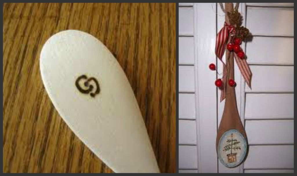decorated wooden spoon as christmas gift