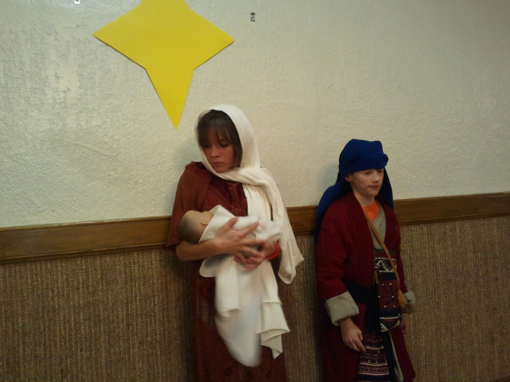 children as joseph and mary in christmas play