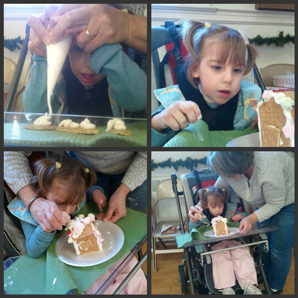 little girl making ginger bread house picture