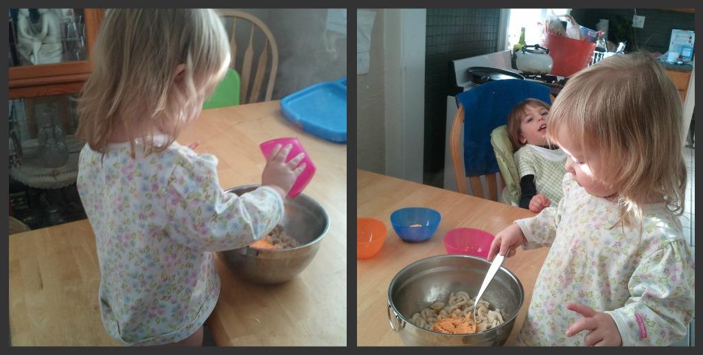 kids making mac n cheese, a milk product