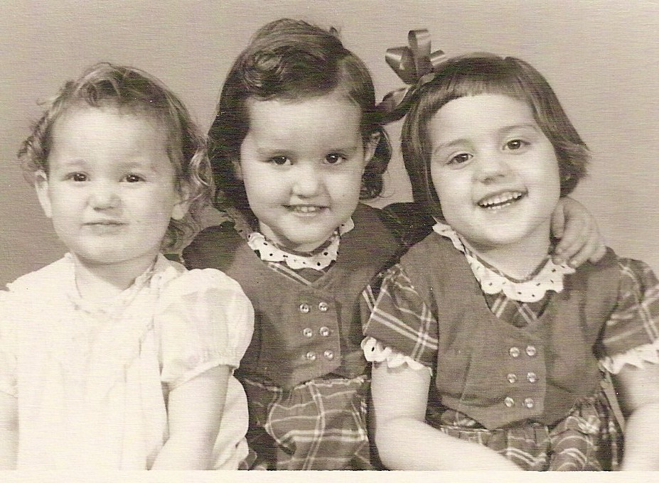 three little smiling children vintage picture