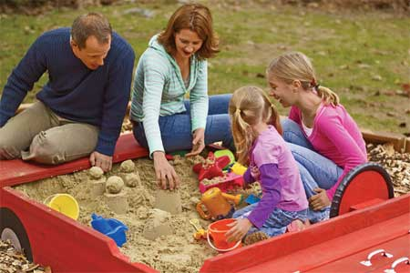 family playing in sandbox picture