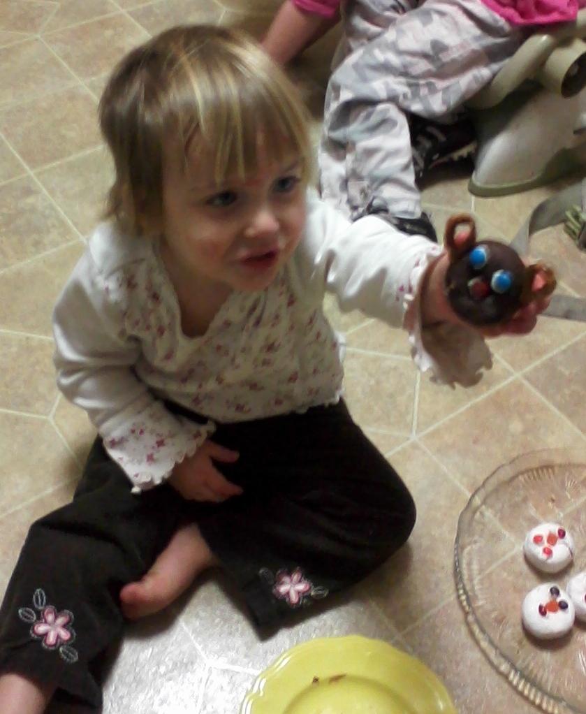 little girl doing Christmas activity