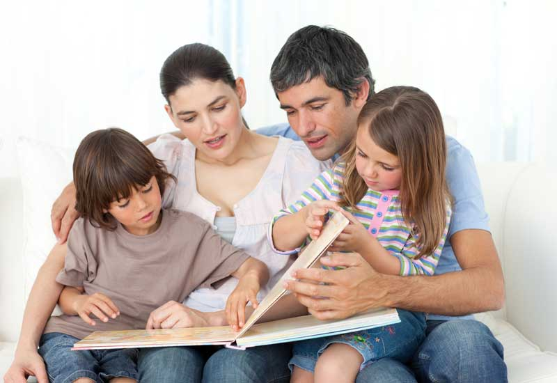 family-reading-book